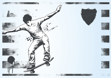 adolescence: horizontal banner with skater Illustration
