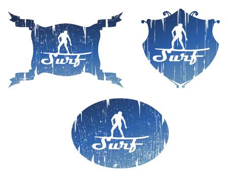 tabla de surf: escudos de surf de grunge vintage con jinete haciendo onda deslizante