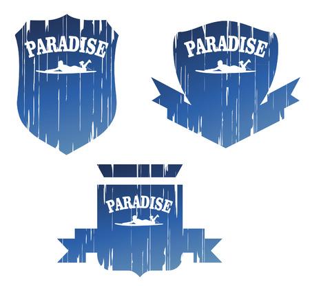 funny surfer: vintage surf paradise grunge shields Illustration