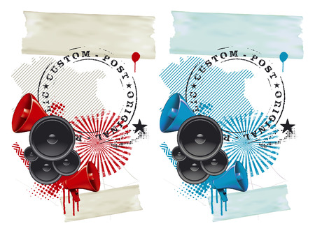 locution: fest grunge background with speakers and megaphone