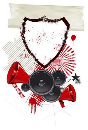 locution: grunge background with shield speakers and megaphone Illustration