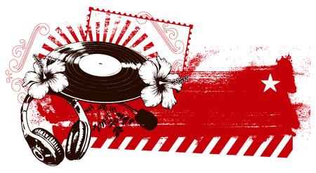 beach party: grunge red banner with music spirit Illustration