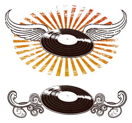 long play: music shields Illustration