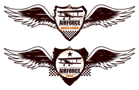 air force grunge shield with wings and plane