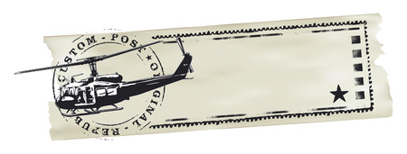 paper banner: air mail stamp with helicopter world map and paper banner