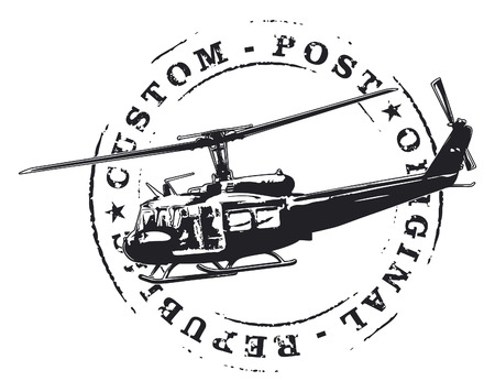 air mail: air mail stamp with helicopter in combat