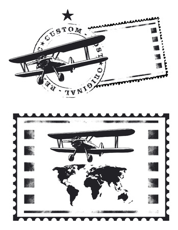 air mail stamp with world map and plane