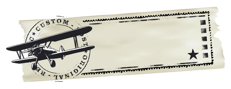 retro grunge: air mail stamp with plane and world map and paper banner