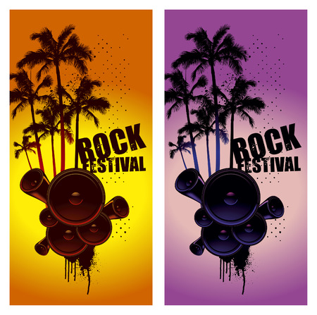 summer party: two vertical poster with summer music scene Illustration