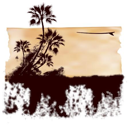 tabla de surf: escena grunge banner con el fondo de papel y tabla de surf