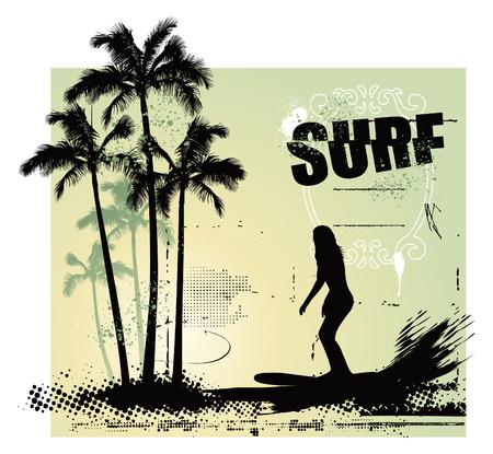 belleza chica surf en el paraíso