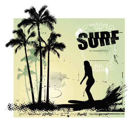 beauty girl surfing in the paradise Illustration