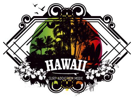 tabla de surf: belleza escudo de surf hawaiano Vectores