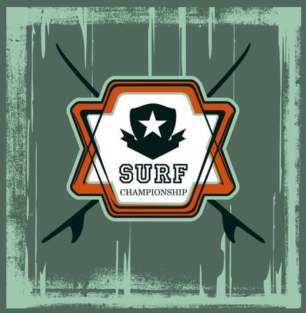 tabla de surf: la belleza de surf escudo del grunge con mesas y el fondo del grunge