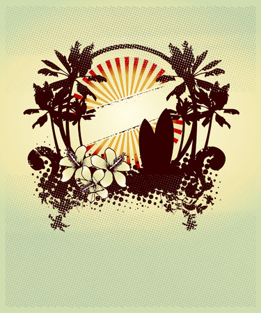 tabla de surf: escena belleza de surf con las palmas de hibisco y tabla