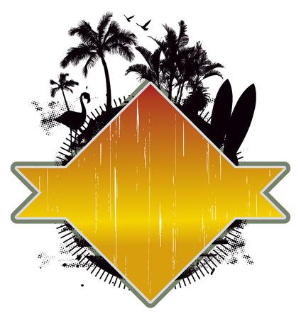 tabla de surf: belleza escena de verano de la vendimia