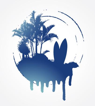 tabla de surf: grunge azul c�rculo de surf con plams y mesa