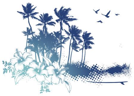 tabla de surf: escena de verano azul con palmeras e hibiscos Vectores