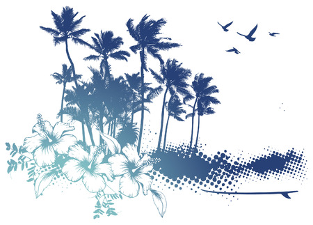 blue summer scene with palms and hibiscus