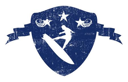 tabla de surf: escudo resaca del vintage azul con piloto