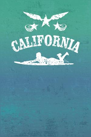 california surf grunge poster Vector