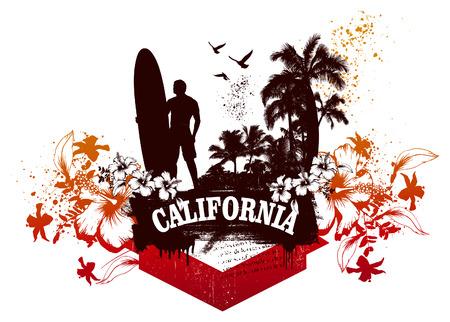 tabla de surf: escena de surf california Vectores
