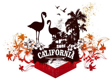 flamingos: california surf scene with flamingos