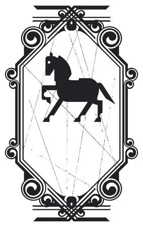 racehorses: vintage equestrian shield with vintage frame