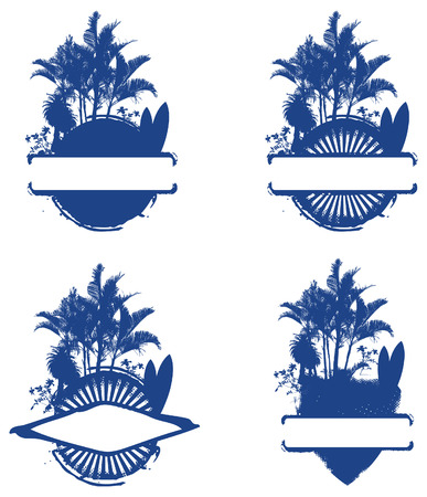 tabla de surf: cuatro escudo de surf con palmeras y mesa