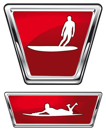 tabla de surf: escudos de surf brillantes con los jinetes