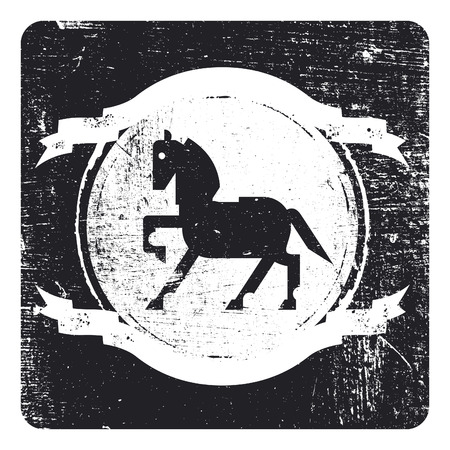 blooded: vintage grunge and stencil inky black shield with horse and copy space