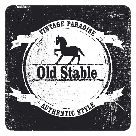 agility: vintage grunge and stencil black shield with horse and copy space