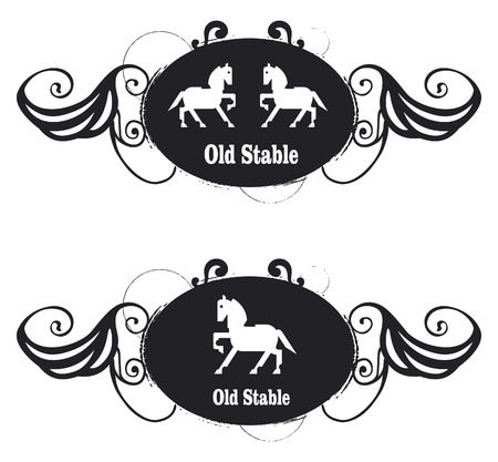 tribute: vintage equestrian shield with horse and stable tribute with tribal and stencil grunge style