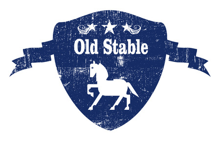 trakehner: vintage stencil and grunge inky blue shield with horse and copy space Illustration