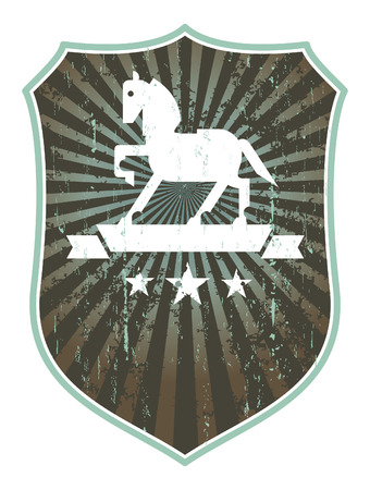 trakehner: iinky stained grunge emblem shield with horse and stencil style with banner and copy space Illustration
