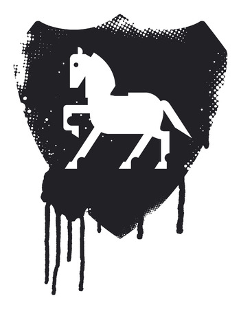 trakehner: stencil stained inky grunge splatter shield with beauty horse