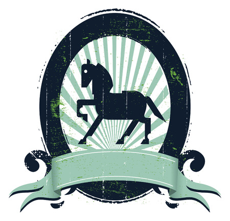 trakehner: vintage equestrian shield with horse banner copy space and stencil grunge style