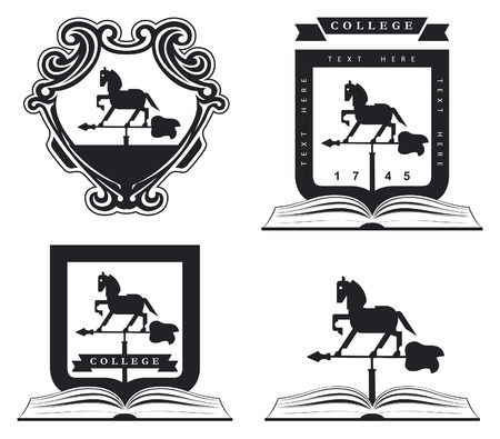 trakehner: vintage traditional conceptual equestrian shields with weather vane horse book arrow and copy space Illustration