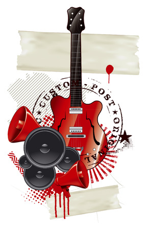 locution: stencil music tribute seal with red guitar and banners and music objects