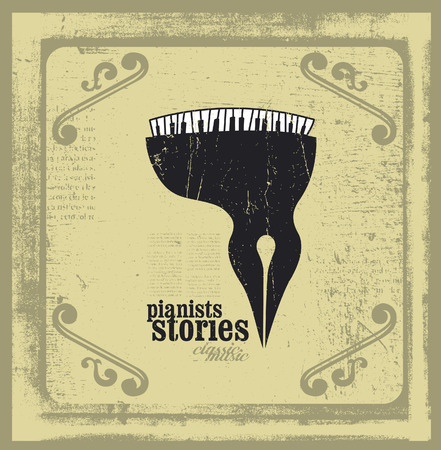 philosophy of music: pianists stories frame with creative piano icon