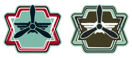 copy space: army crest with propeller and copy space Illustration