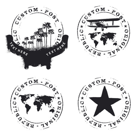 seal gun: four seals with palms plane and world map Illustration