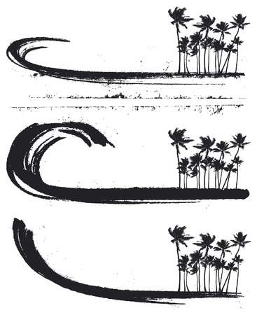 big waves: inky grunge banners with big waves and palms Illustration
