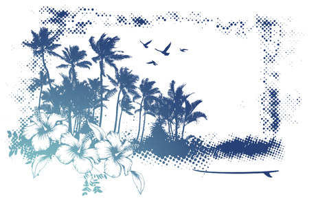 grunge summer frame with many palms Ilustrace