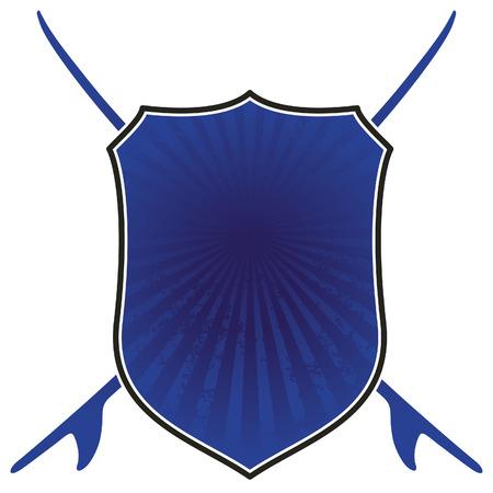surf team: stencil blue surf shield Illustration