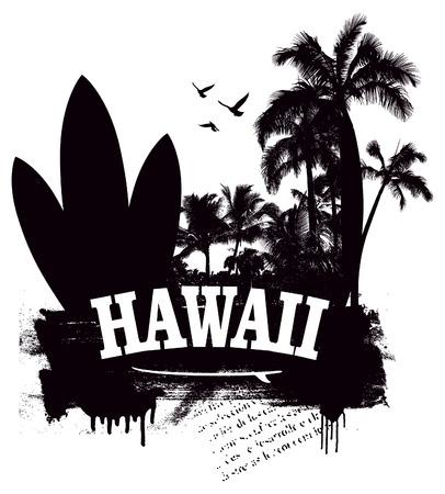tabla de surf: stencil playa hawaiana con tabla de surf y palmeras Vectores