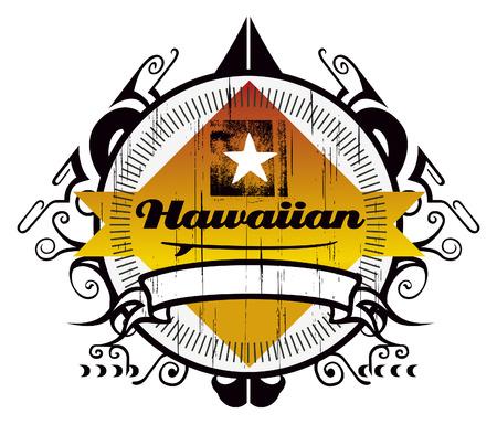 tabla de surf: stencil escudo de surf hawaiano Vectores