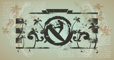 exciting: grunge inky shield with surf jump