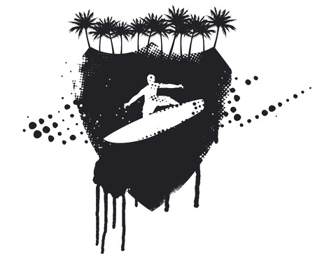inky: grunge inky surfer palm shield