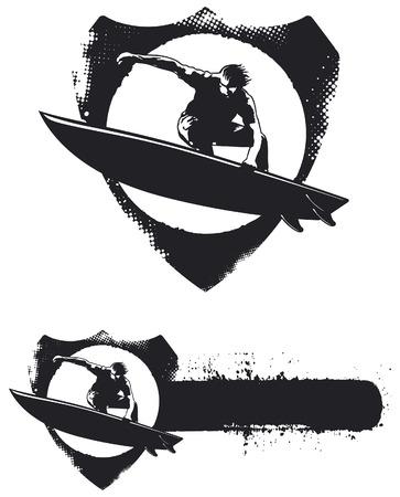 funny surfer: stencil surf emblem with surfer jumping Illustration
